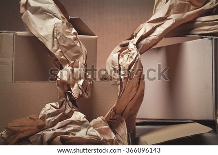 cardboard boxes used, open and unpack shipments