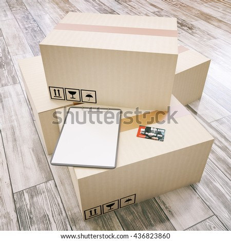 Cardboard boxes with blank clipboard and credit card on aged wooden floor. Mock up, 3D Rendering - stock photo