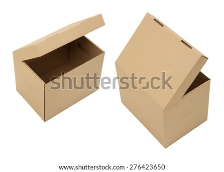 Cardboard boxes with different angles on white - stock photo