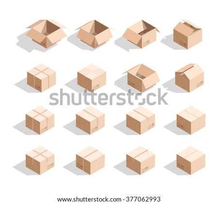 Cardboard Boxes Texture Templates Box Design Stock Illustration ...
