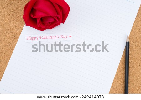 Cardboard, cork board with note paper with pencil and rose beside for romantic planning, space for text