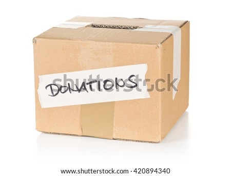 Cardboard donations box with text over white background
