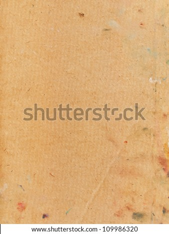 cardboard empty space for the text background brown yellow covered with spots of oil paint textured and dark reflections - stock photo