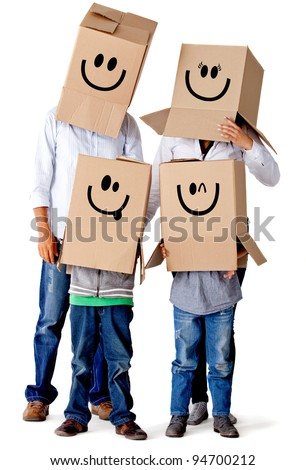 Cardboard family characters - isolated over a white background - stock photo