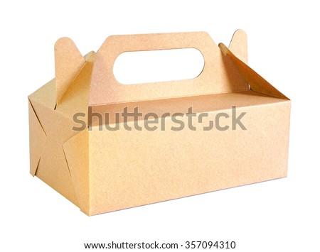 cardboard food box isolated on white background - stock photo