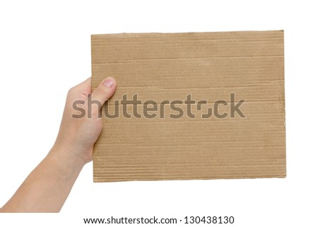 cardboard frame in the hands on a white background - stock photo