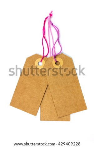 Cardboard Labels with Pink Thread Isolated. - stock photo