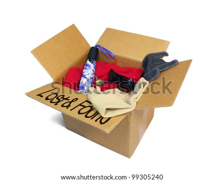 Cardboard lost and found box isolated on white.