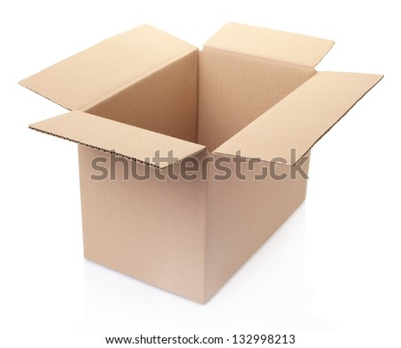 Cardboard open box isolated on white, clipping path included