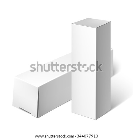 Cardboard Package Box. Set Of White Package Square For Software, DVD, Electronic Device And Other Products. Mock Up Template Ready For Your Design.  Illustration Isolated On White Background. - stock photo