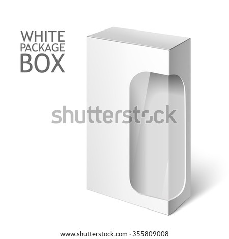 Cardboard Package Box. Set Of White Package Square For Software, DVD, Electronic Device, Medical and Cosmetic Products with Window. Mock Up Template Ready For Your Design. Isolated On White Background - stock photo