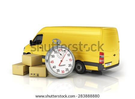 Cardboard package box with stopwatch and delivery vehicle on the white background. Fast delivery concept. - stock photo
