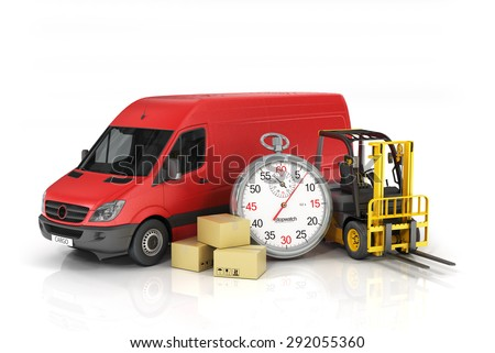 Cardboard package box with stopwatch and delivery vehicle with forklift truck on the white background. Fast delivery and loading concept. - stock photo