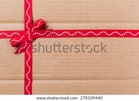 Cardboard packaging related bowknot closeup