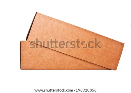 Cardboard Paper Box isolated on a White background. - stock photo