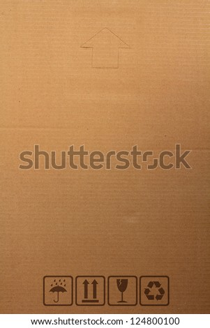 cardboard paper box with Safety fragile icon, with space for design work - stock photo