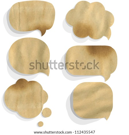 Cardboard Paper Speech Bubble, Isolated On White Background