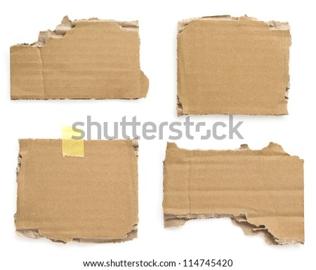 cardboard pieces isolated on white background