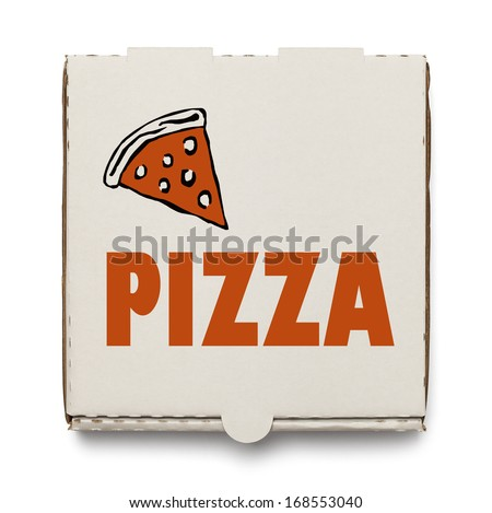 Cardboard Pizza Box Isolated on White Background. - stock photo