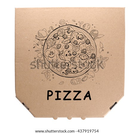 Cardboard pizza box isolated on white background, top view - stock photo