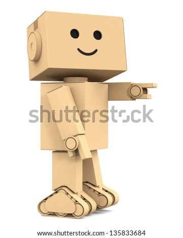 Cardboard robot character - stock photo