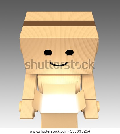 Cardboard robot open a cardboard box - stock photo
