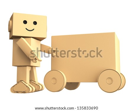 Cardboard robot point to a cardboard car - stock photo