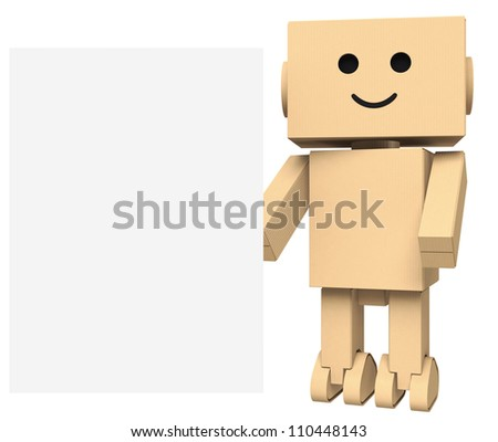 cardboard robot with blank sign space