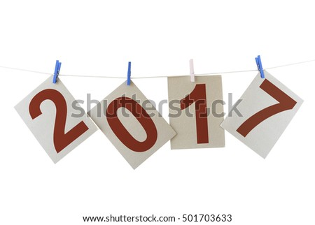 Cardboard sheets with shape of 2017 (NEW YEAR)  isolated on a white