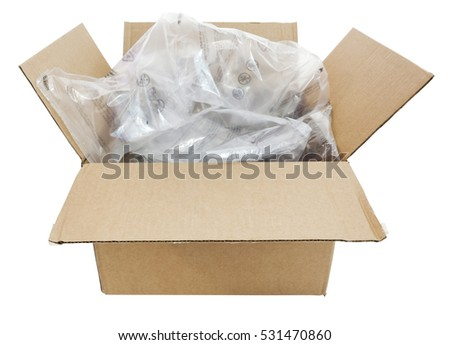 Cardboard shipping box filled with plastic air cushion pillows. Isolated. Horizontal.