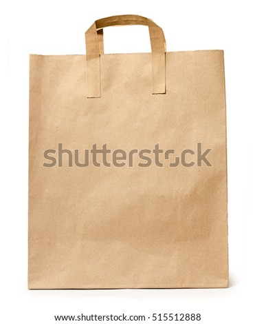 cardboard shopping bag for packaging products and gifts. Isolated on white background. Commerce concept