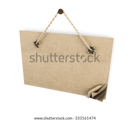 Cardboard sign with rope close-up on a white background. 3d render image. - stock photo