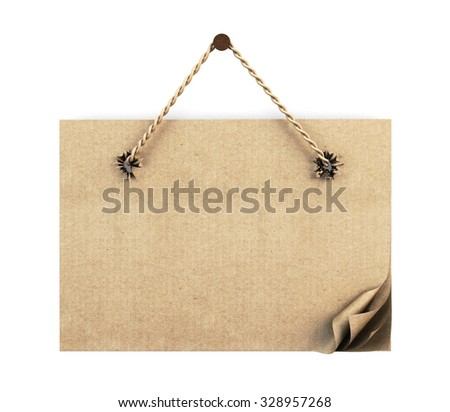 Cardboard sign with rope isolated on white background. 3d illustration. - stock photo