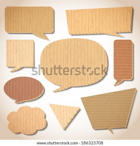 Cardboard speech bubbles design elements set isolated  illustration