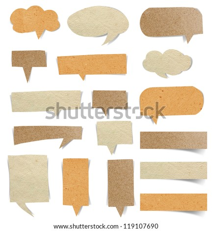 Cardboard Structure With Paper Speech Bubble, Objects with Clipping Paths for design work - stock photo