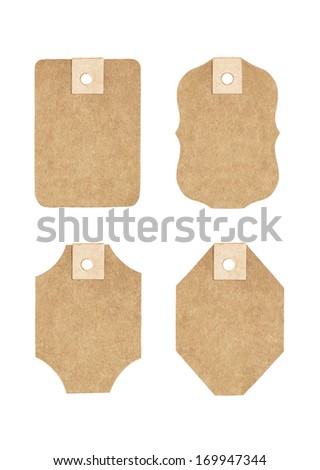 Cardboard tag on a white background - stock photo