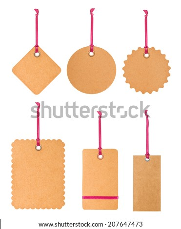 cardboard tag with pink ribbon and bow isolated on white background