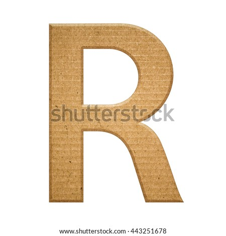 Cardboard texture english alphabet letter, isolated on white background