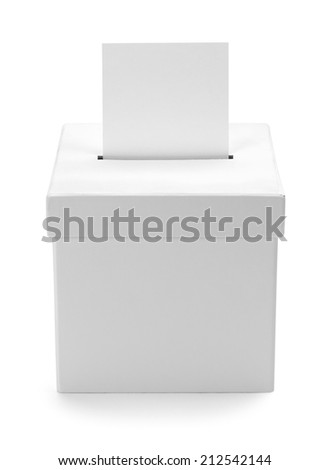 Cardboard White Ballot Box with Copy Space Isolated on White Background. - stock photo