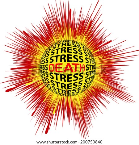 Cardiac Death trough Stress. Concept sign for health risk trough psychic strain