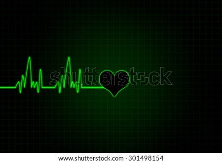 Cardiac Frequency in green Color with heart shape.