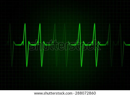 Cardiac Frequency in Green Colour - stock photo