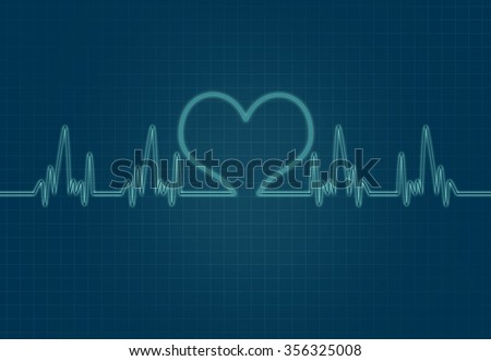 Cardiac Frequency in Green Colour with heart shape. - stock photo