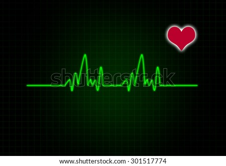 Cardiac Frequency with heart shape.