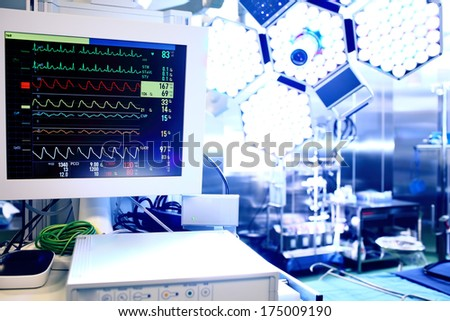 Cardiac monitor in operating theater  - stock photo