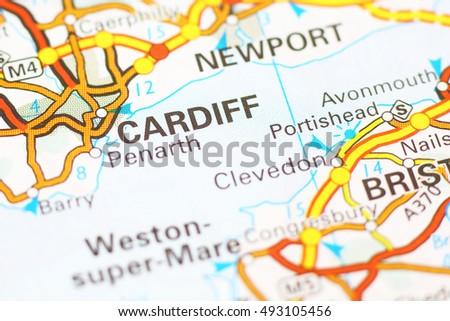 Cardiff Area On Map Stock Photo 493105456 Shutterstock