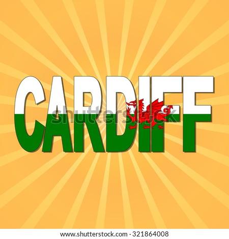 Cardiff flag text with sunburst illustration - stock photo