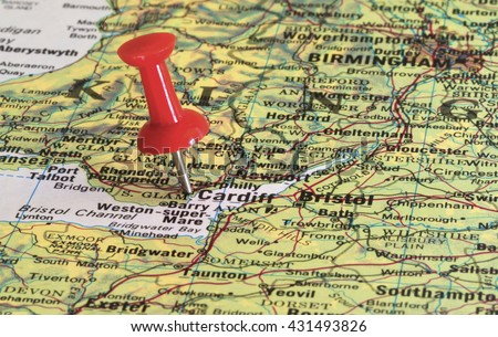 Cardiff Marked Red Pushpin On Map Stock Photo Royalty Free