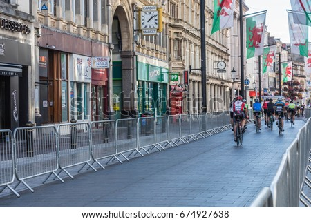 Cardiff, South Wales, Wales, United Kingdom, 9th July 2017 - Velothon Wales 2017. The 87 mile (140km) race which starts and ends in Cardiff but takes in Newport, Monmouthshire, Torfaen and Caerphilly.