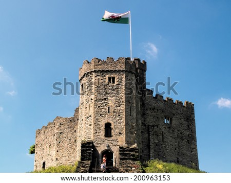 CARDIFF, WALES - JUNE 8 : The Keep at Cardiff Castle in Cardiff on June 8, 2013. Unidentified people.